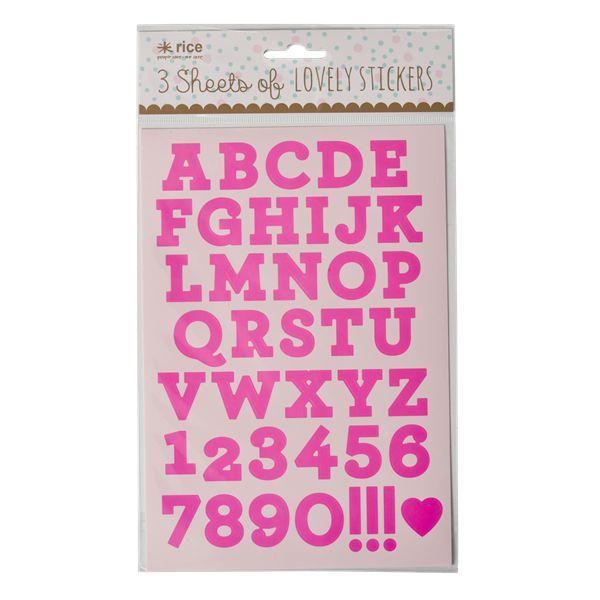RICE alphabet stickers neon fluo pink