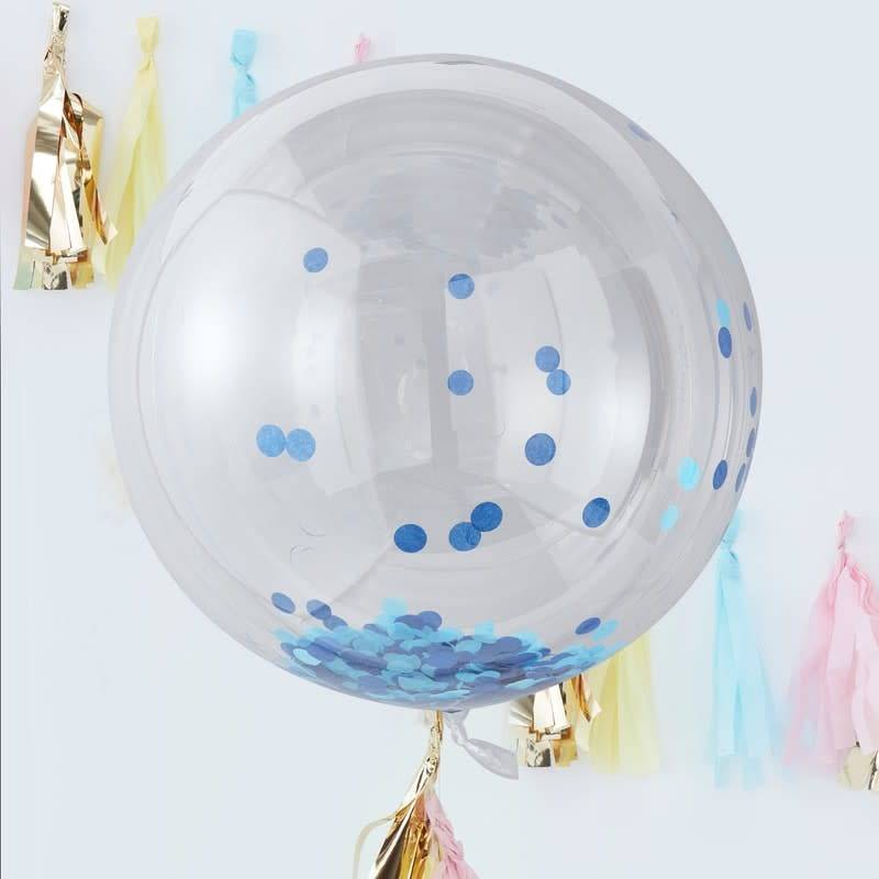 GINGERRAY LARGE BLUE CONFETTI ORB BALLOONS - PICK & MIX