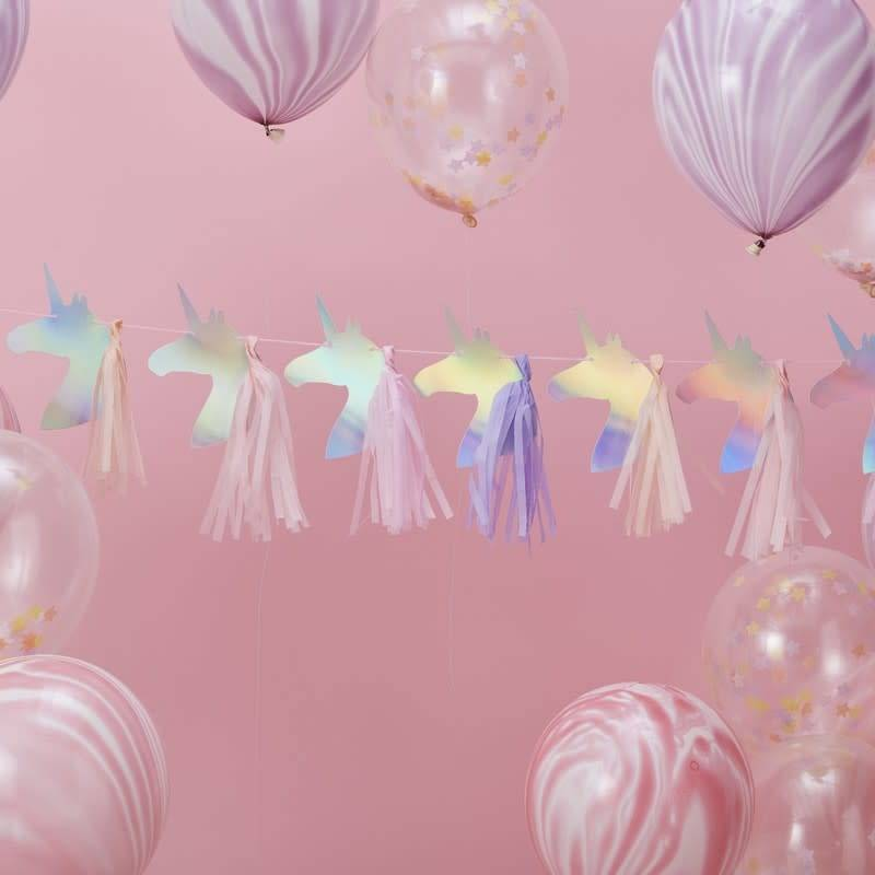 GINGERRAY IRIDESCENT FOILED UNICORN TASSEL GARLAND - MAKE A WISH
