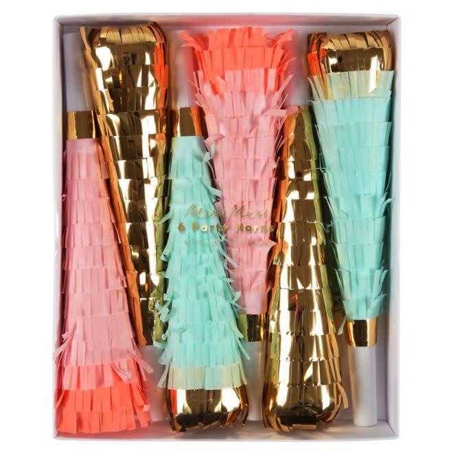 MERIMERI Fringed neon & gold horns
