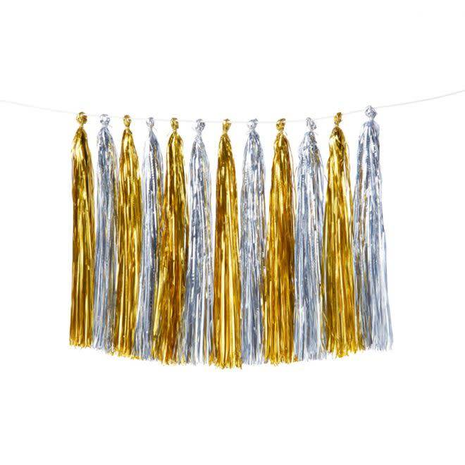 MERIMERI Gold & silver tassel garland