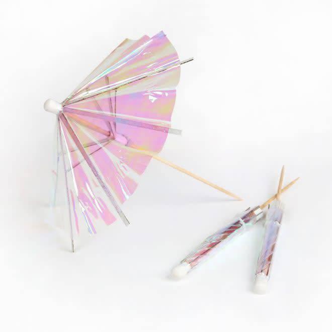 MERIMERI Iridescent cocktail umbrellas