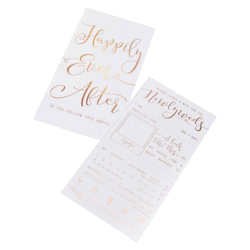 GINGERRAY ROSE GOLD FOILED ADVICE FOR THE NEWLYWEDS CARDS