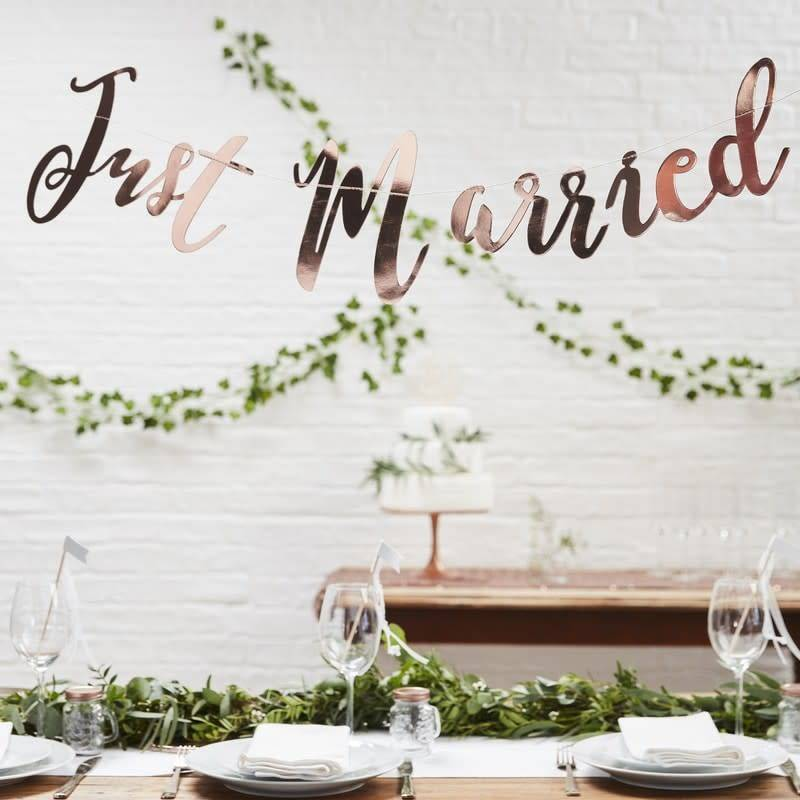 GINGERRAY JUST MARRIED ROSE GOLD BUNTING BACKDROP - BEAUTIFUL BOTANICS