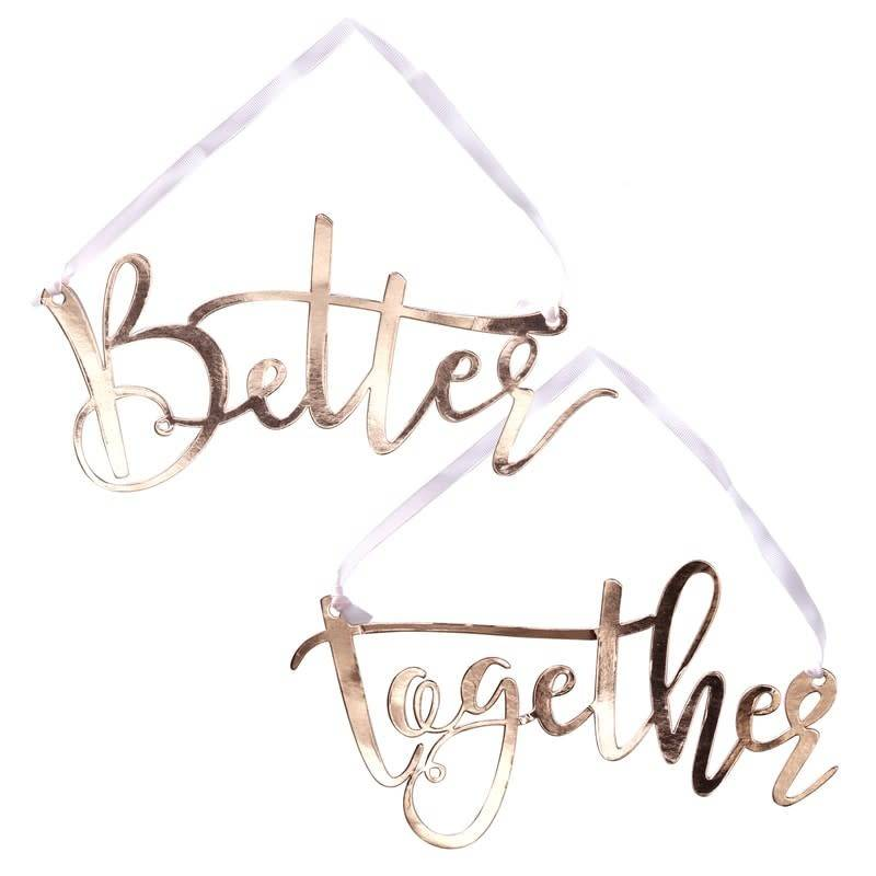 GINGERRAY ROSE GOLD BETTER TOGETHER CHAIN SIGNS - BEAUTIFUL BOTANICS