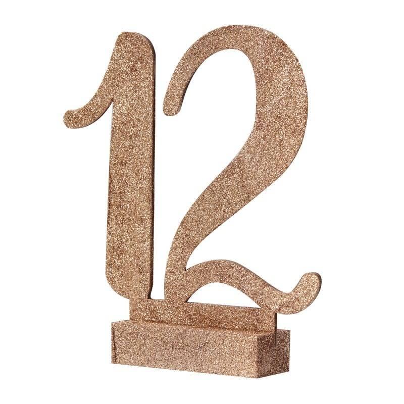 GINGERRAY ROSE GOLD GLITTER WOODEN TABLE NUMBERS 1-12 - BEAUTIFUL BOTANICS