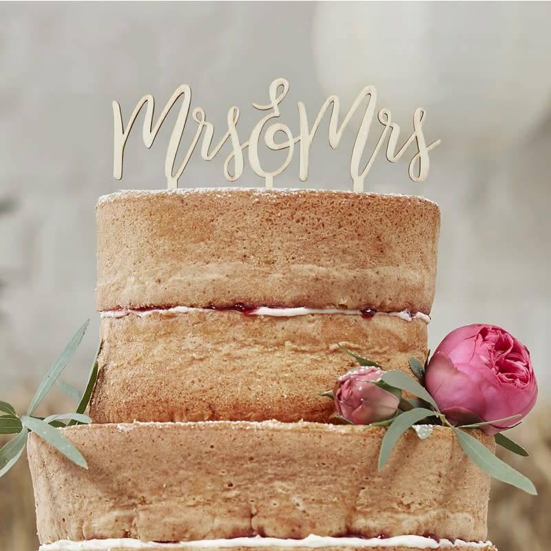 GINGERRAY WOODEN MRS & MRS CAKE TOPPER - BOHO
