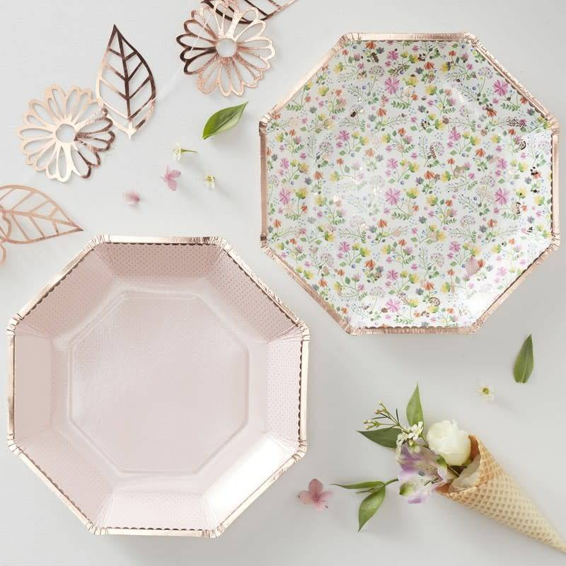 GINGERRAY ROSE GOLD FOILED FLORAL PAPER PLATES - DITSY FLORAL