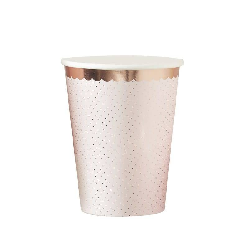 GINGERRAY ROSE GOLD FOILED POLKA DOT PAPER CUPS - DITSY FLORAL