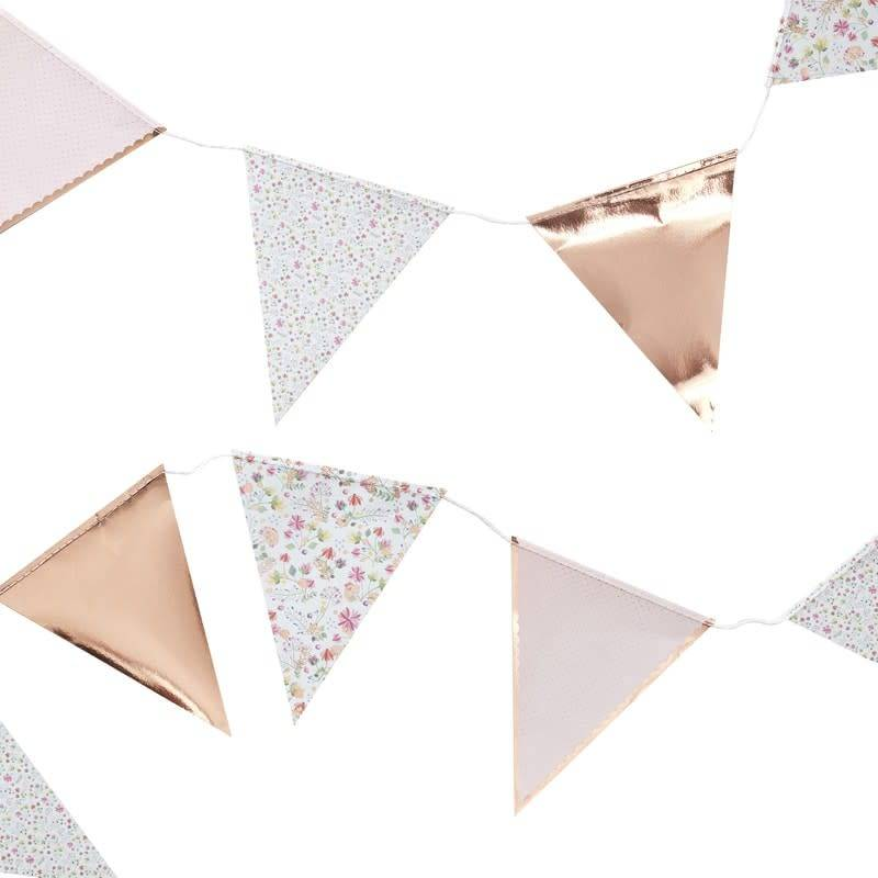 GINGERRAY ROSE GOLD FOILED FLORAL PRINT BUNTING - DITSY FLORAL