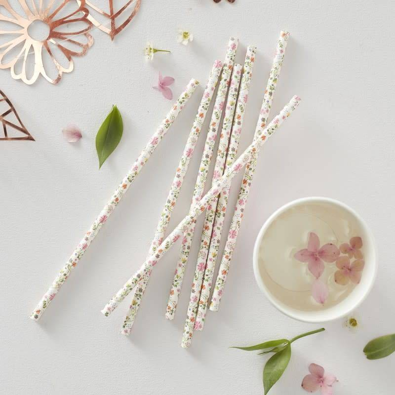 GINGERRAY FLORAL PAPER STRAWS - DITSY FLORAL