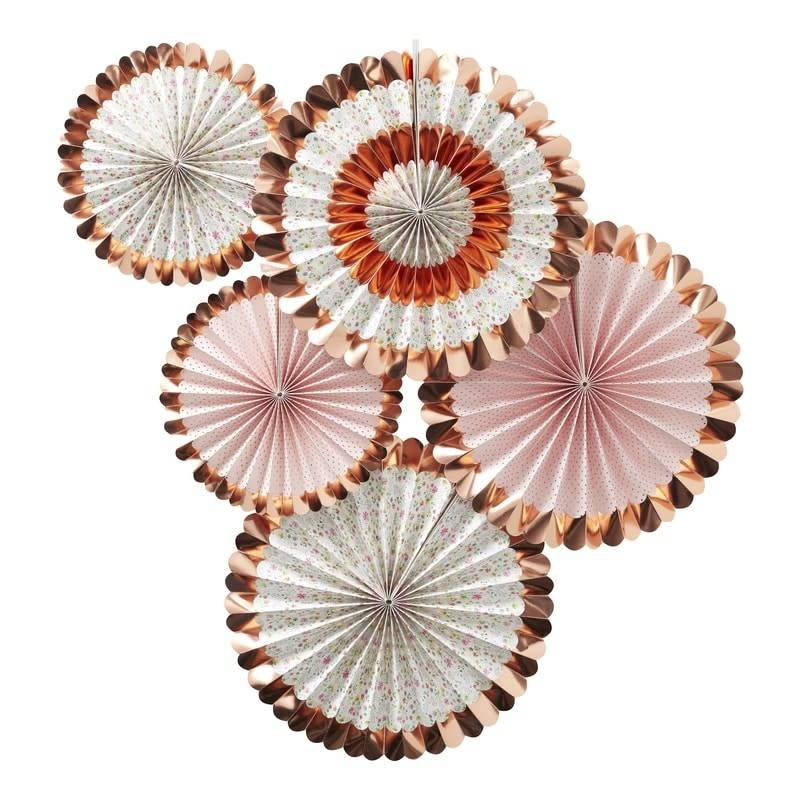 GINGERRAY ROSE GOLD FOILED FLORAL FAN DECORATIONS - DITSY FLORAL