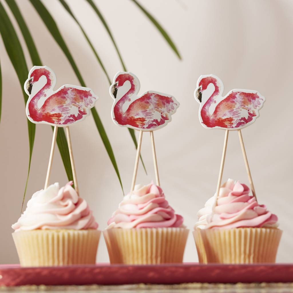 GINGERRAY FLAMINGO CUPCAKE / FOOD TOPPERS - FLAMINGO FUN