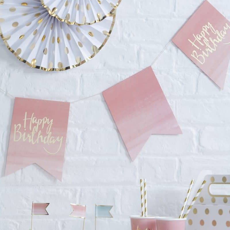 GINGERRAY GOLD FOILED & OMBRE HAPPY BIRTHDAY BUNTING - PICK AND MIX
