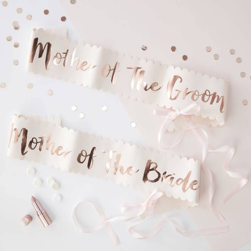 GINGERRAY PINK AND ROSE GOLD FOILED MOTHER OF THE BRIDE GROOM SASHES - 2 PACK - TEAM BRIDE