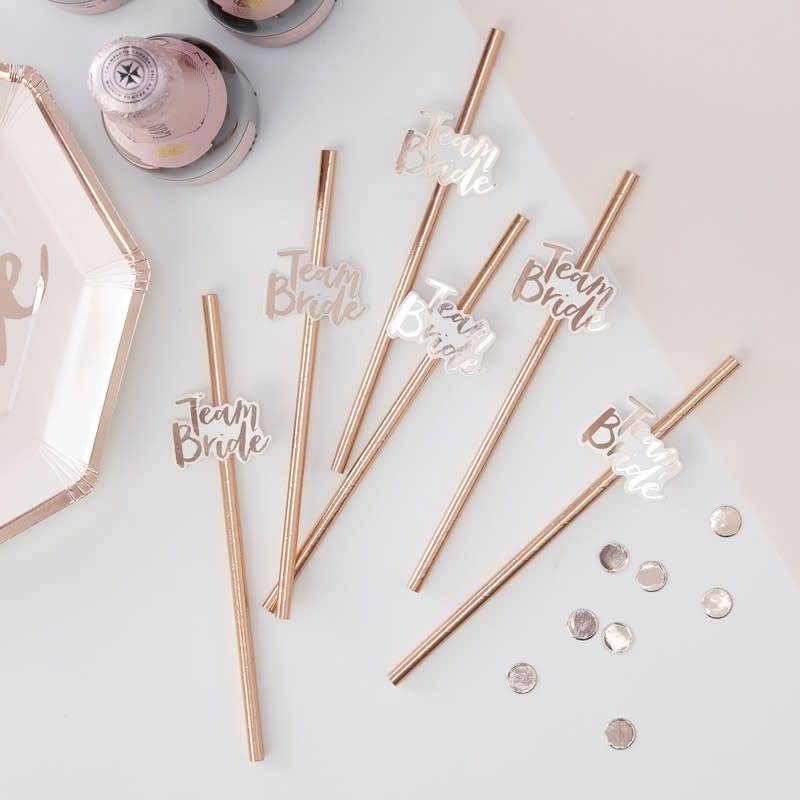 GINGERRAY ROSE GOLD FOILED TEAM BRIDE PAPER STRAWS - TEAM BRIDE