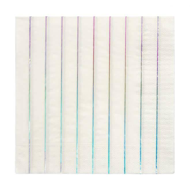 MERIMERI Silver holographic stripe napkins L