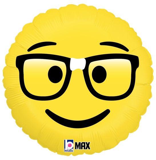 SMP emoji nerd foil balloon 45 cm