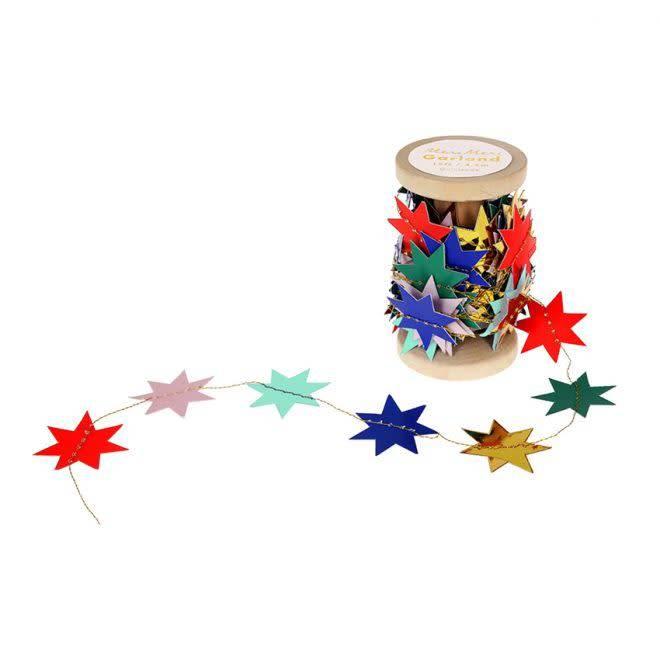 MERIMERI Festive star garland on spool