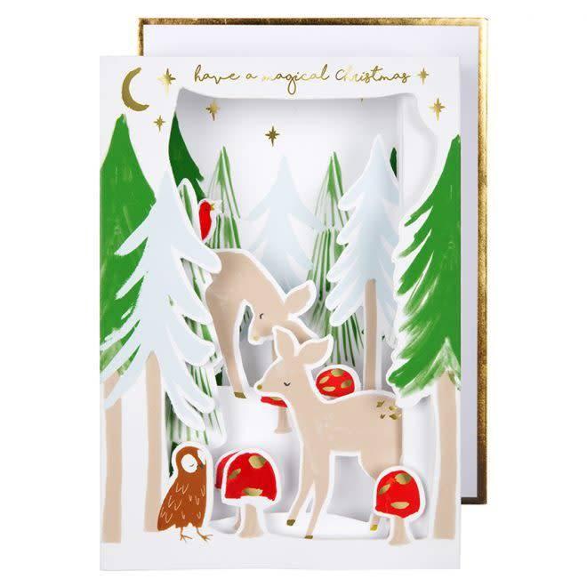 MERIMERI Festive woodland diorama card