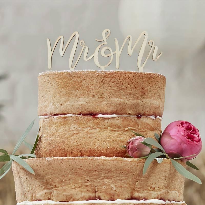 GINGERRAY WOODEN MR & MR CAKE TOPPER - BOHO