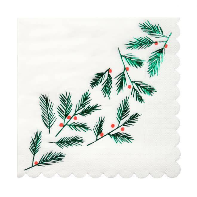 MERIMERI Festive leaves & berries napkins L