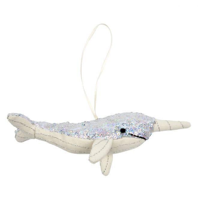 MERIMERI Sequin narwhal hanging decoration