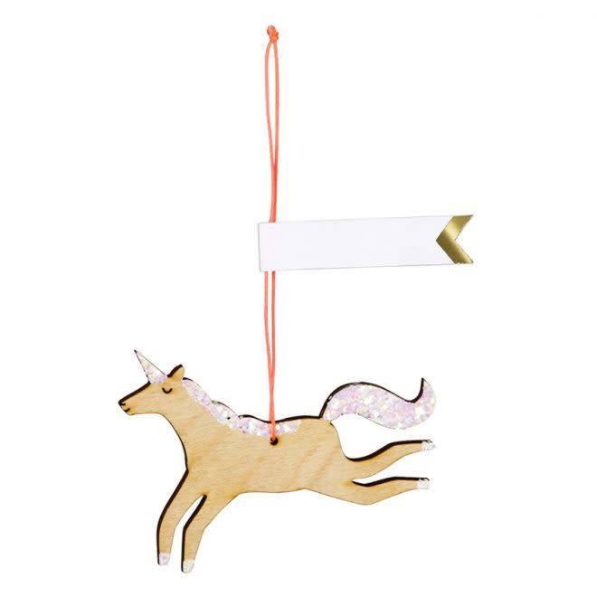 MERIMERI Wooden glitter unicorn gift tags