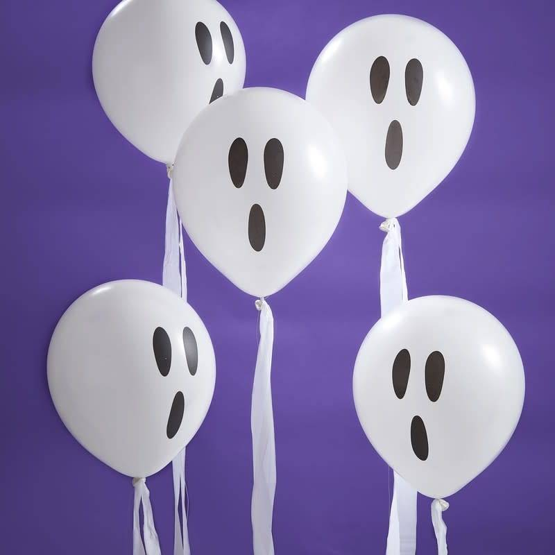 GINGERRAY WHITE GHOST BALLOONS WITH STREAMERS - CREEP IT REAL