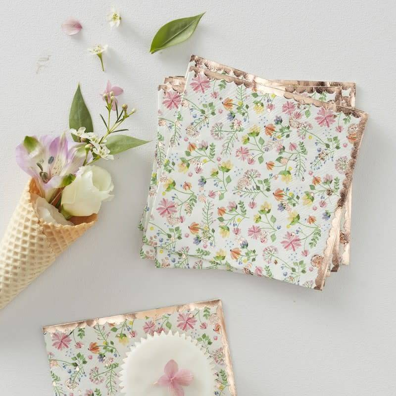 GINGERRAY ROSE GOLD FOILED FLORAL PAPER NAPKINS - DITSY FLORAL