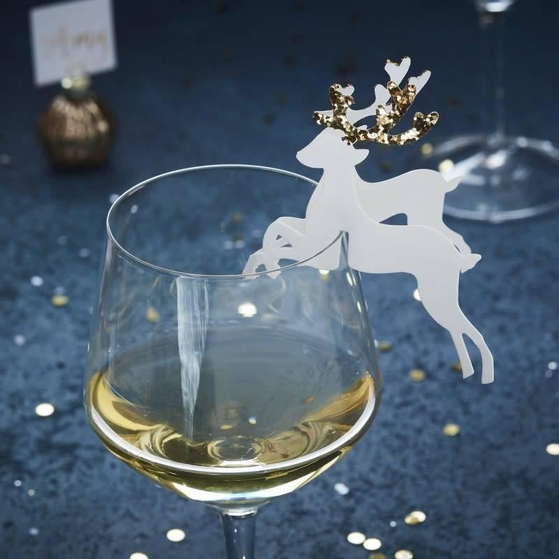 GINGERRAY Gold Christmas - Glass Decoration - Reindeer - Gold Glitter