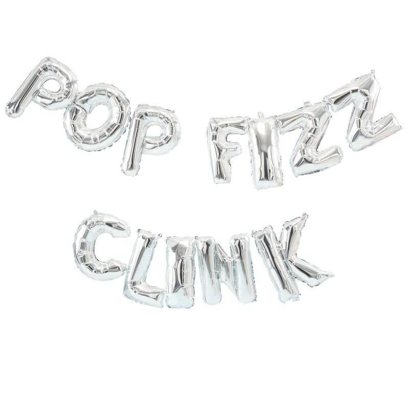 GINGERRAY Silver Pop Fizz Clink Balloon Bunting - Jolly Vibes