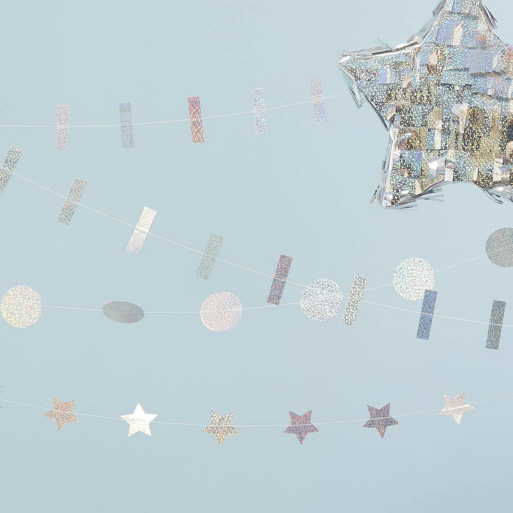 GINGERRAY Holographic Mixed Pack Of Garlands - Jolly Vibes