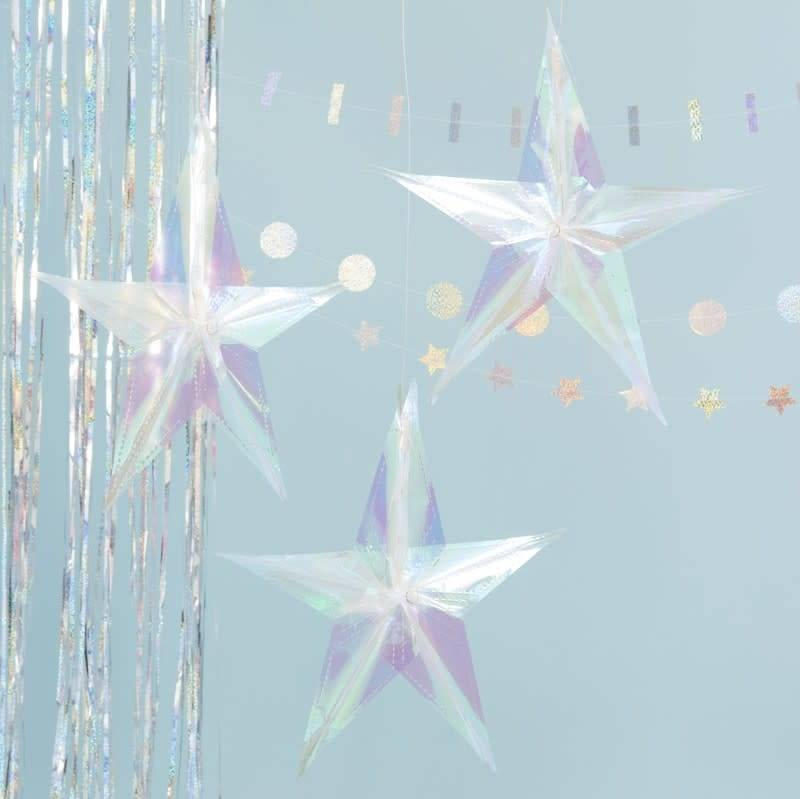 GINGERRAY Iridescent Hanging Star Decorations - Jolly Vibes