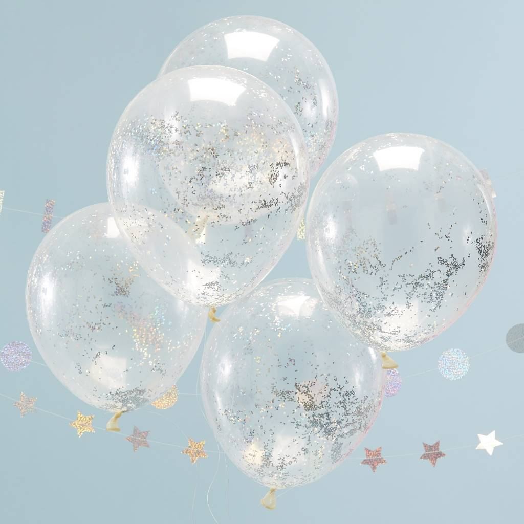 GINGERRAY Holographic Glitter Confetti Balloons - Jolly Vibes