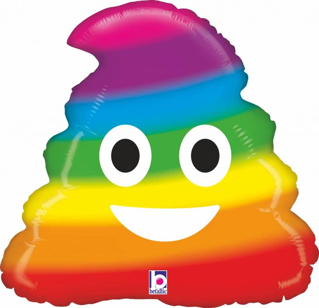 SMP emoji poo rainbow foil balloon 50 cm
