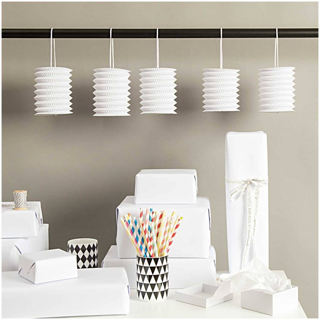 RICO HANGING PAPER LANTERNS, WHITE