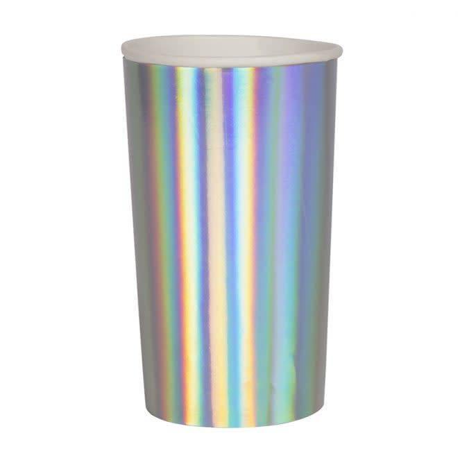 MERIMERI Holographic silver highball cups