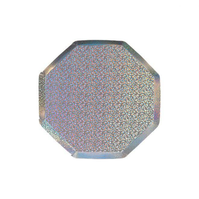 MERIMERI Silver sparkle cocktail plates