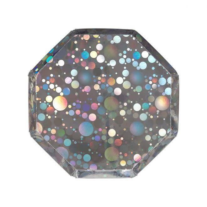 MERIMERI Holographic silver bubble plates S