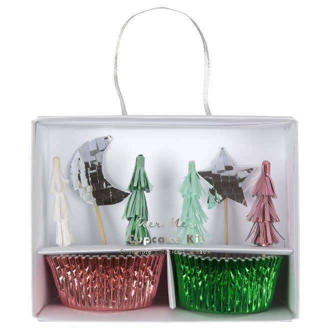 MERIMERI Festive tree cupcake kit