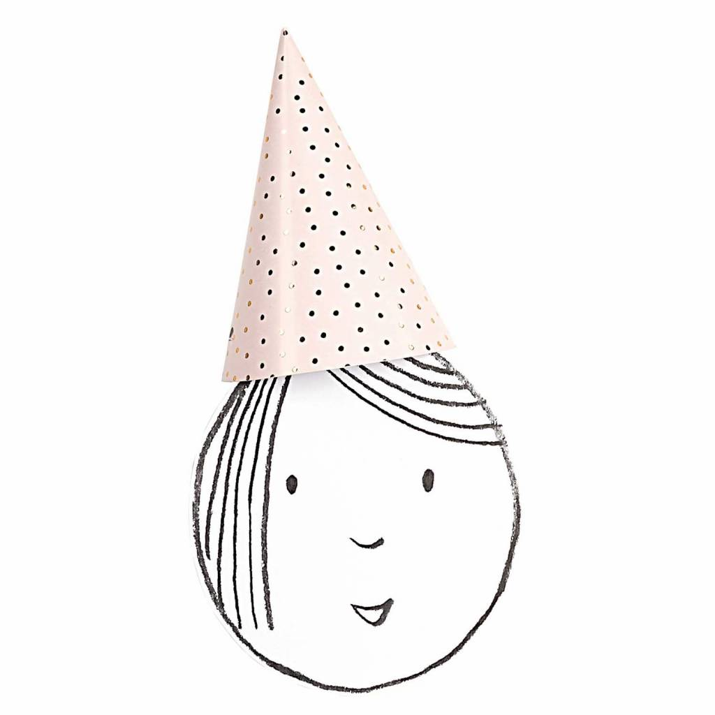 RICO PARTY HATS, PINK/GOLD
