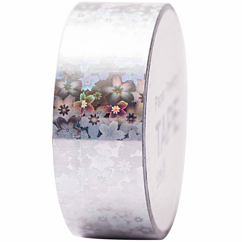 RICO HOLOGRAPHIC TAPE, FLOWERS SILVER