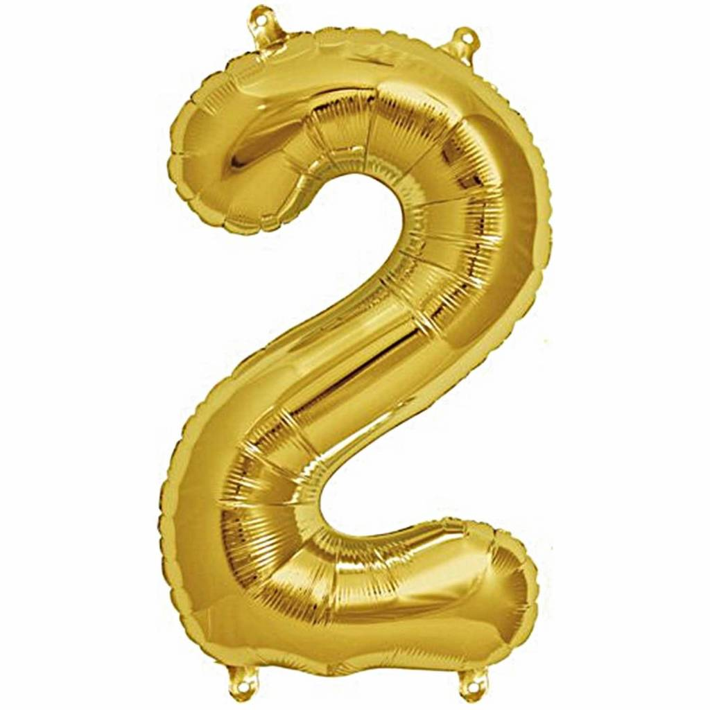 RICO Foil numberballoon small gold 2