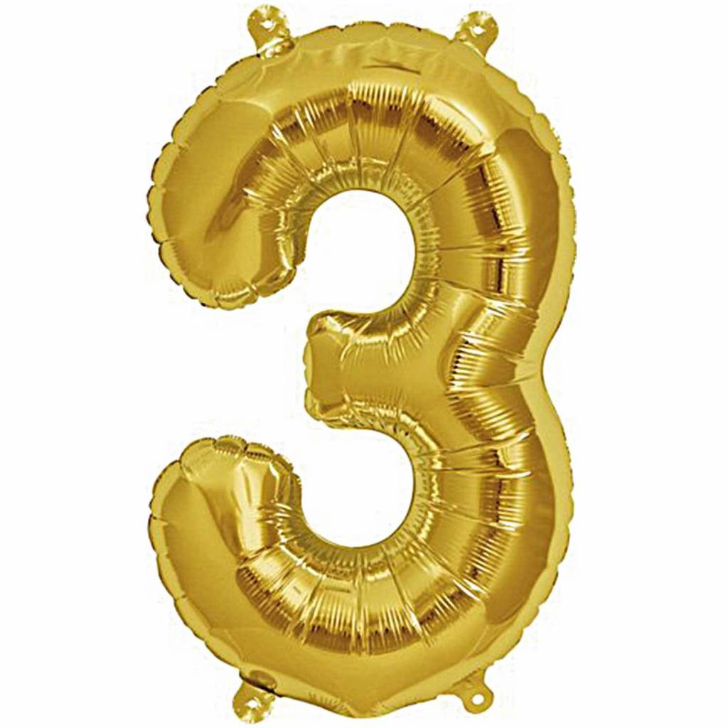 RICO Foil numberballoon small gold 3