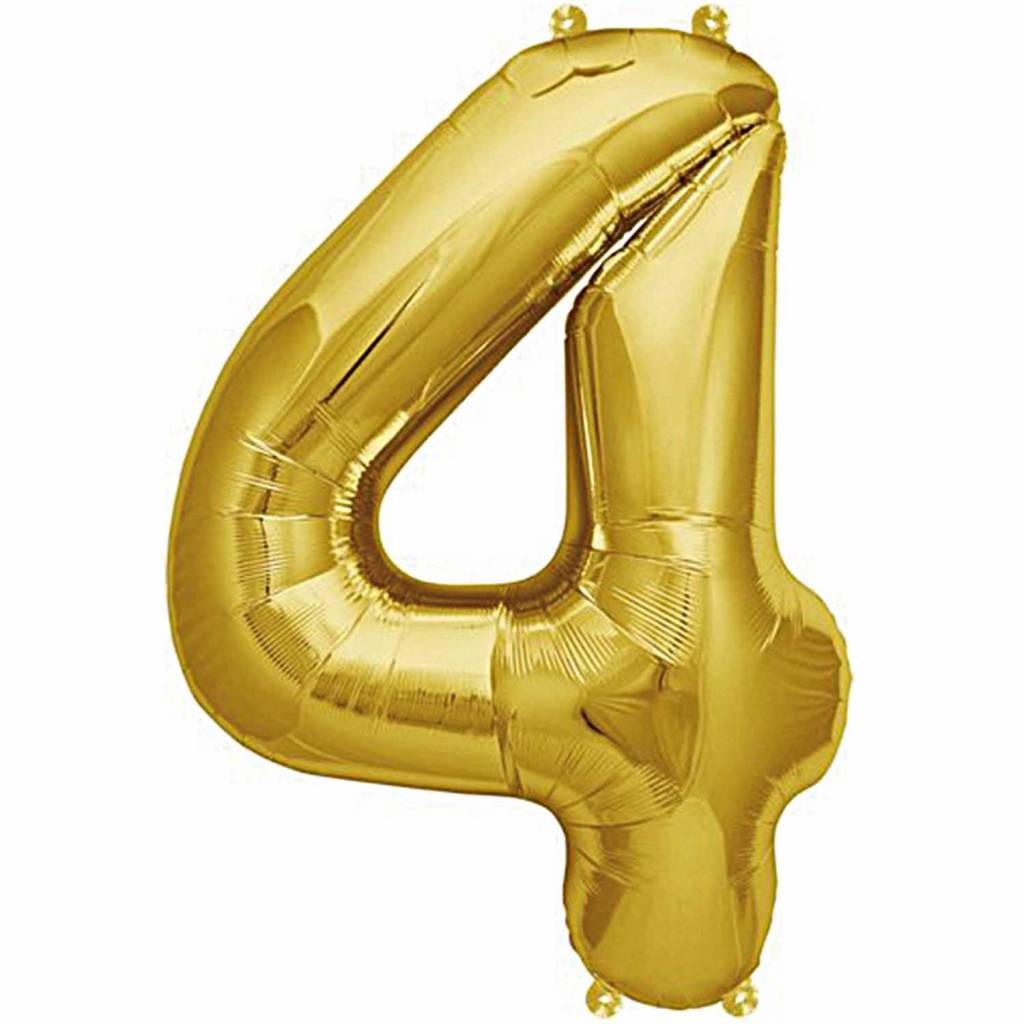 RICO Foil numberballoon small gold 4