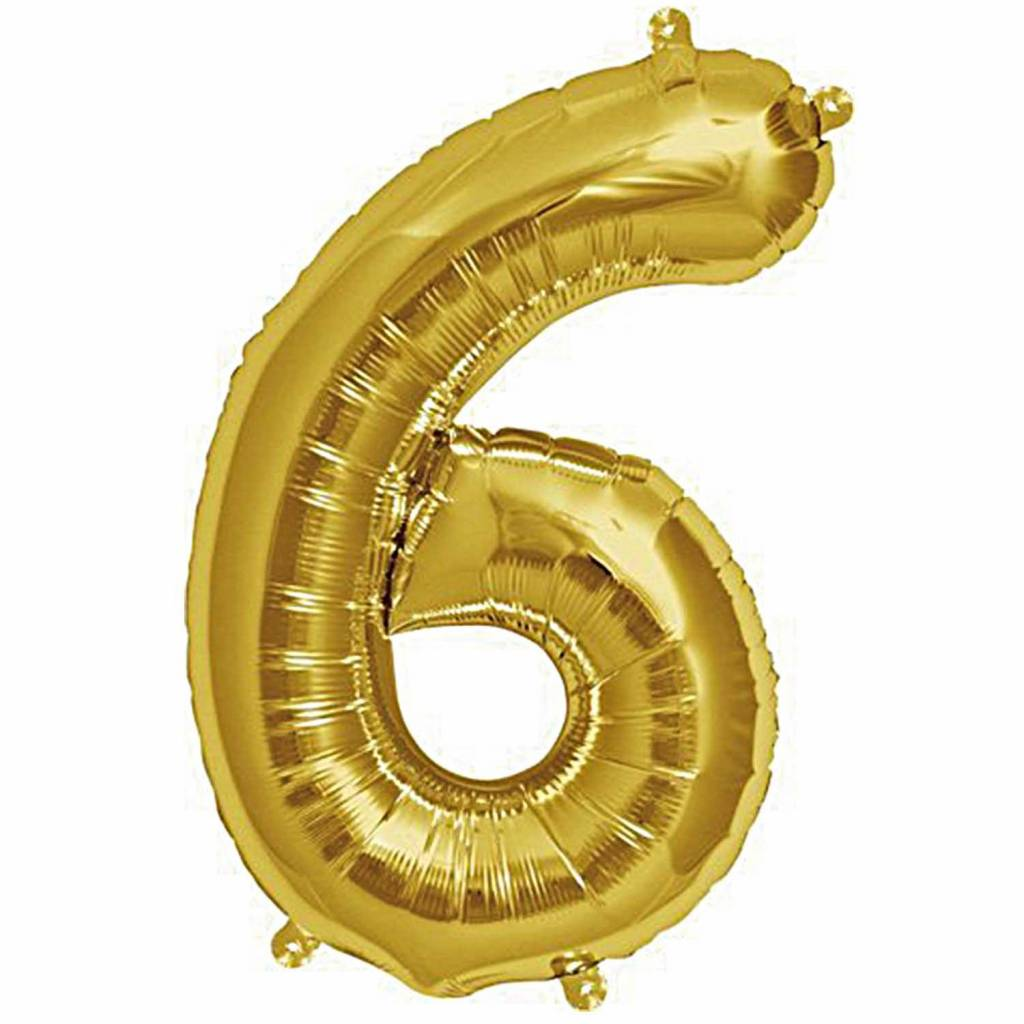 RICO Foil numberballoon small gold 6