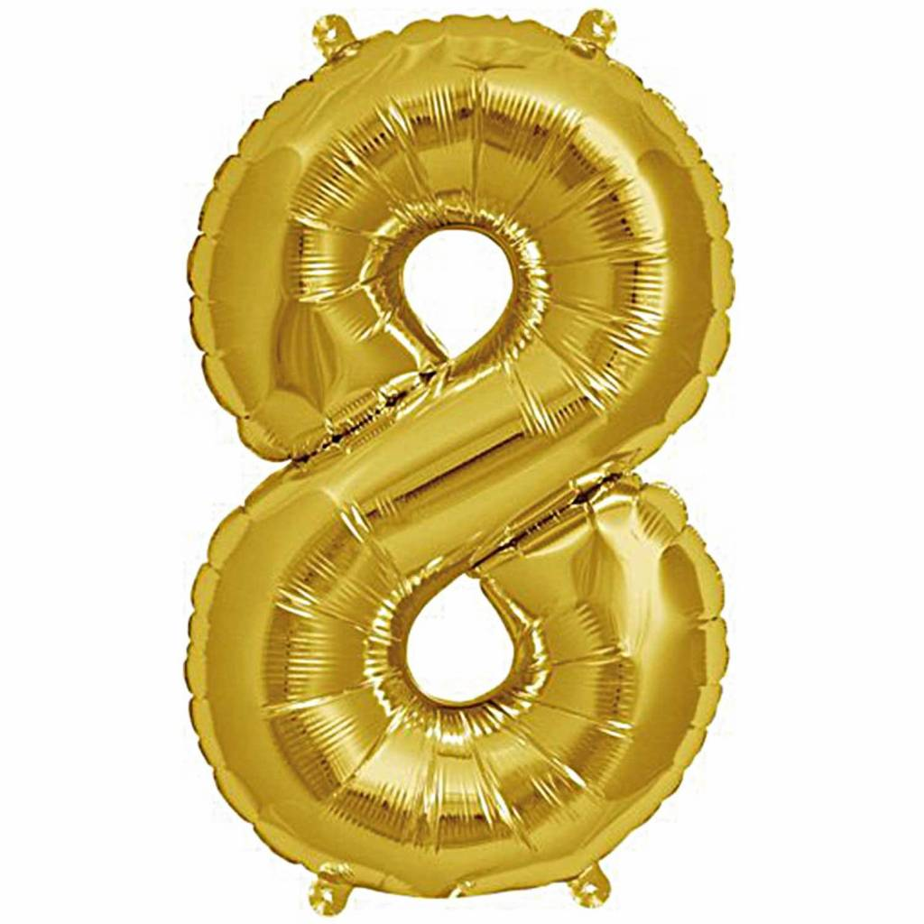 RICO Foil numberballoon small gold 8