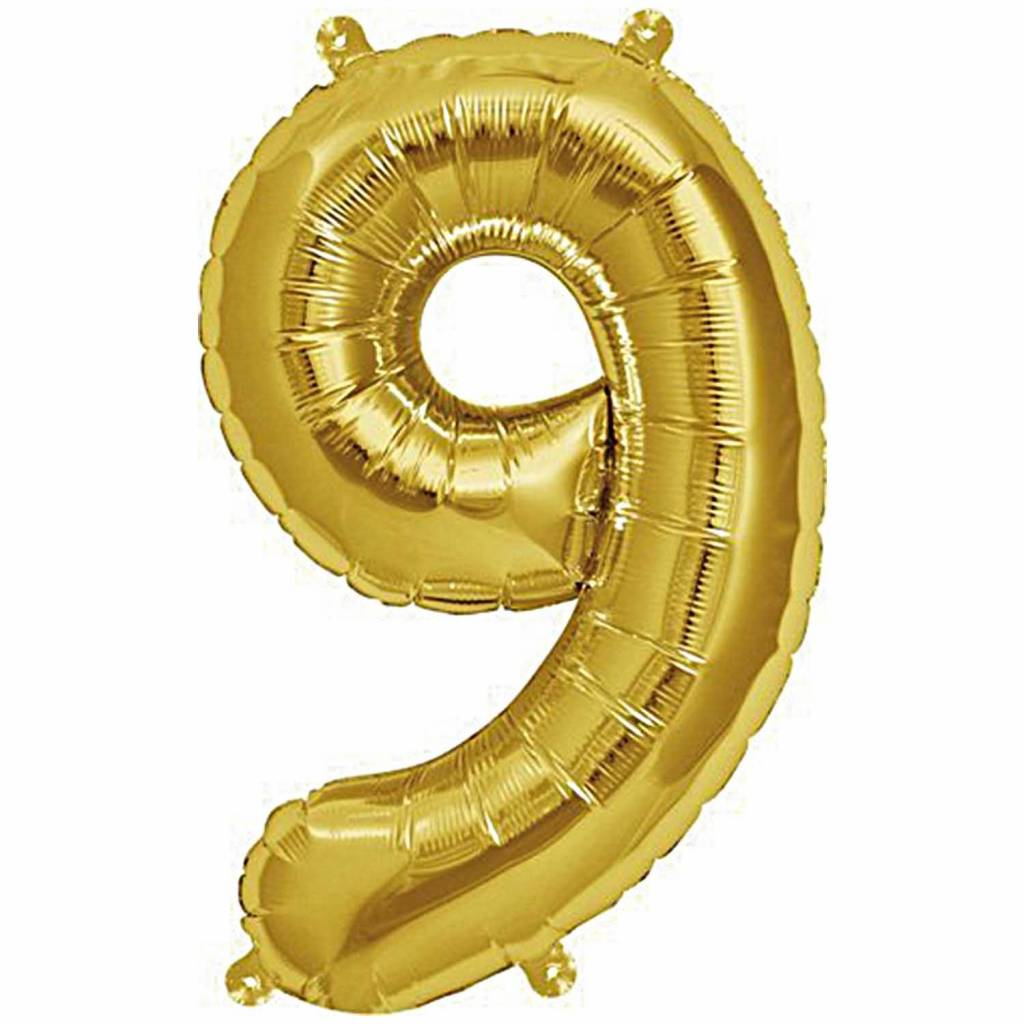 RICO Foil numberballoon small gold 9