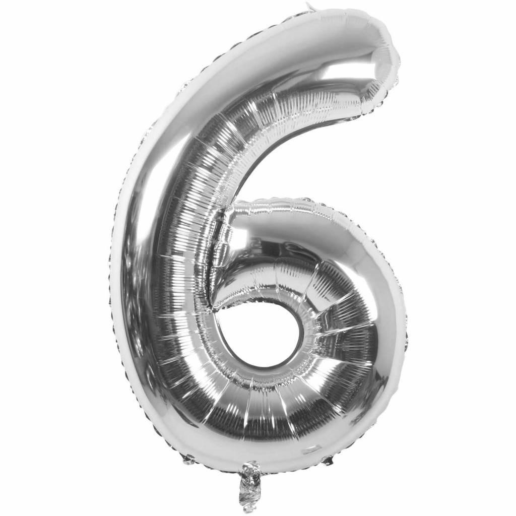 RICO Foil numberballoon small silver 6